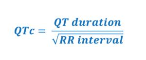 Bazett's formula for calculating corrected QT duration (QTc).